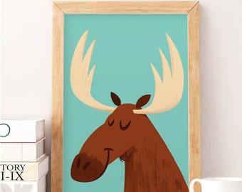 Moose print, Moose wall decor, Moose nursery art, Nursery art, Kids wall decor, Modern nursery art, Nursery print, Cute moose, Nursery decor