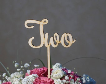 9 Natural French Table numbers custom wedding table number un deux trois quatre cinq six sept huit neuf large size 4 - 5 inches tall + stick