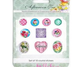"Set of 10 ""Afternoon Tea"" (réf.510) scrapbooking embellishment stickers crystal embellishments *."
