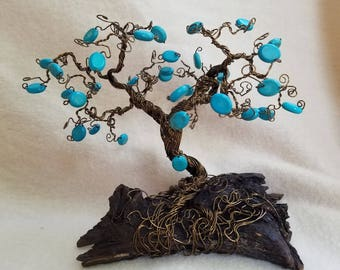 Handcrafted wire bonsai beaded tree of life