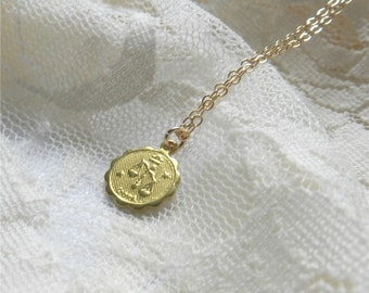 Gemini necklace, brass astrological charm necklace with gold filled chain, sleek modern jewelry SALE