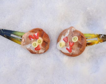 Hair Clips Waffle Design-2 pieces sweet Fimo:-)