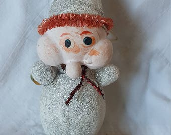 Vintage Paper Mache  Christmas Elf Glitter
