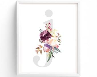 Letter J, Printable Letter Monogram, Plum, Purple Lettering, Nursery Art. Art Prints, Baby Girl Nursery, Wall art Prints