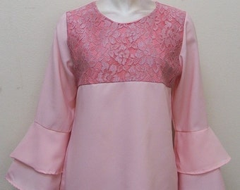 Double Layer Bell Sleeve Lace Top