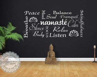 Namaste Yoga Quote Wall Sticker Montage, Meditation Wall Art Montage with Lotus Flowers