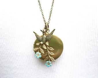 Flower Garden Locket Necklace Bird Locket Gold Locket Pendant Blue Flower Locket Mother's Day Gift Garden Wedding Bridesmaid Gift