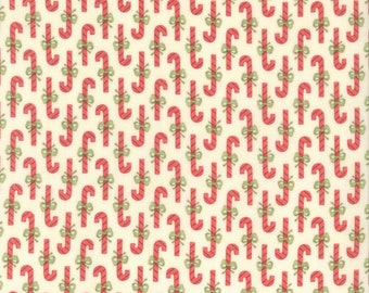 Snowfall Prints, Snow White Candy Canes by Minick & Simpson of Moda Fabrics, 14830-11, Red Candy Canes on White