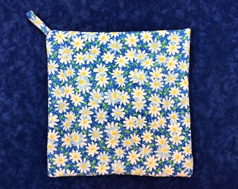 Blue Daisy Square Pot Holder