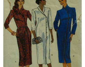 Asian Style Dress Pattern, Straight, Shawl / Stand-up Collar, Button Loop / Hidden SideClosure, Long or 3/4 Sleeves - Vogue 7430 Size 10