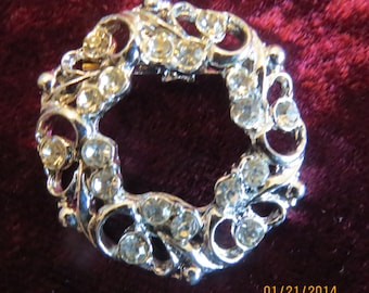 Fabulous Vintage Rhinestone and Silver Brooch