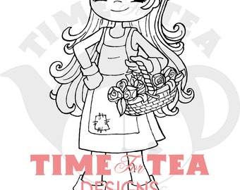 Blooming Lovely Gardening Girl Digital Stamp, Line Drawing Illustration, Paper Craft, Adult Colouring, Card Making, Girl Stamps, Gardening