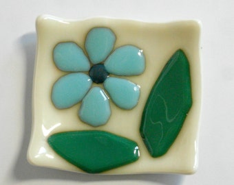 Small Fused glass dish - floral Fused Glass - candle holder - Decorative Bowl- Dresser Caddy - organic square - blue flower - cream - green