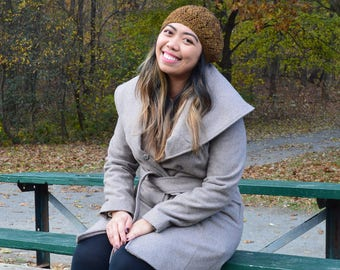 Lace Slouch Hat - Brown