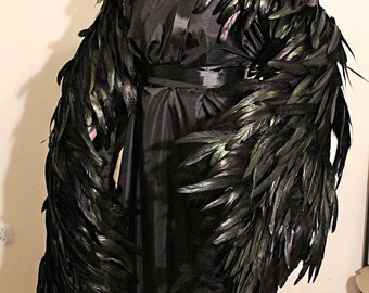 READ item DESCRIPTION !! Made to order.  Maleficent crow raven wings   howl moving castle
