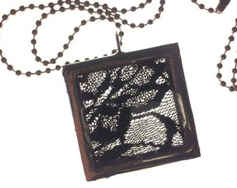 Black Lace Soldered Charm Necklace