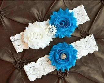 ON SALE Wedding Garter Set, Bridal Garter, Set, Ivory Lace Garter, Keepsake Garter, Toss Garter, Shabby Flowers & Vintage  Turquoise  Garter