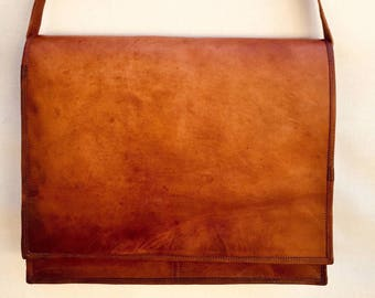 Leather satchel, Leather bag for laptop, Leather bag, Leather fold over satchel