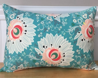"12"" x 16"" Pillow Cover in Teal Coral Peach Mint Green White Flower Modern Baby Girl Nursery Lumbar Accent Pillow Cover"