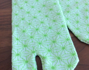 "Flip Flop Toe Socks""Mosaic Lime Green"" Japanese Tabi Socks Flip Flop Sandals Split toe for women"