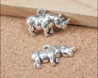 10pcs 13x20mm Antique Silver Hinoceros Charm Pendant Animal Charm Pendant LJB287