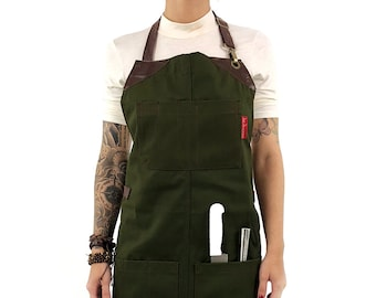 Knife Roll Apron - Forest Green Canvas - Brown Leather