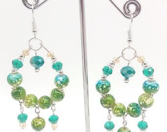 Muti-color Paint Splattered Beaded Hoop Earrings