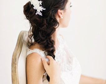 Lace Bridal Comb, Ivory Flora Hair Piece, Lace Bridal Headpiece, Ivory Bridal Headpiece - BELLAMY