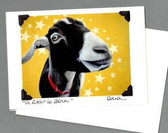 Goat Card - Funny Goat Card - Funny Goat Art  - Proceeds Benefit Animal Charity