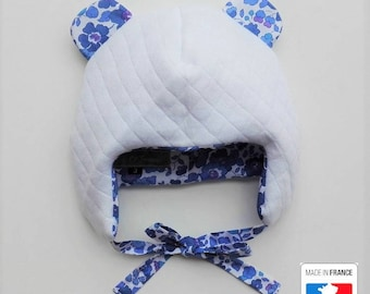 White Jersey quilted and liberty Betsy Lavender Baby bonnet