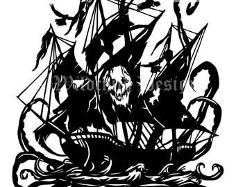 Phantom Pirate Ghost Ship Paper Cutting Template, Personal Use, Vinyl Template, SVG, JPEG, Cthulhu Template, Ghost Ship Template, Skull