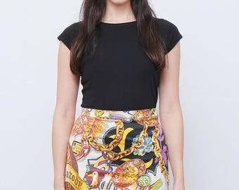 Rare 80's Vintage Jungle Kenzo Print Mini Skirt