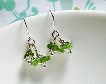 HALF PRICE - Worry Locket Matching Earrings - peridot earrings / charm earrings / green earrings / august earrings / peridot jewelry