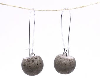 Concrete earrings-Small balls/Silver color 16 mm