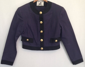 late 80s early 90s purplish-navy denim cropped jacket by MARK EISEN, size 6 - made in USA