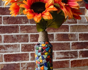 Mosaic Ceramic Tile Vase Made From Recycled Wine Bottle