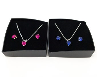 Genuine Created 6mm 925 Silver Sapphire Or Ruby Earring & Pendant Necklace Set