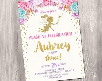 Fairy birthday invitation, fairy invitation, watercolor floral boho, girl birthday invitation, garden invitation, Printable Invitation