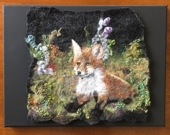 Original Wool Painting of Baby Fox