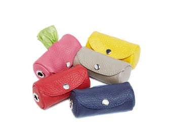 Handmade Genuine Leather Pet Poop Bag Holder - Colorful Stylish Handmade Genuine Leather Dog Poop Bag Dispenser
