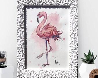 Flamingo Tropical Print  A4 A3