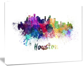 Houston Skyline - Cityscape Canvas and Metal Artwork Print - (PT6555)