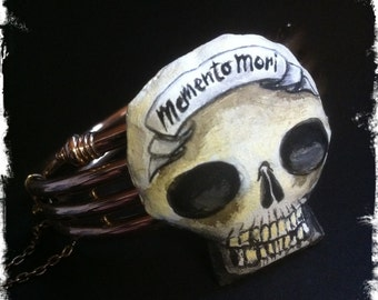 SKULLpture bracelet - gothic, victorian, macabre, skull, memento mori, soft sculpture, handpainted