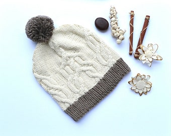 Wool Cotton Knit Hat, White Knitted Hat, Wool Hat, Slouchy Beanie, Slouchy Hat, Slouchy Wool Hat, Pom Pom Hat