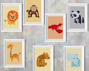 Baby Prints - Your Choice x2, x3 or x5 - Animals - Art Print  - Digital Illustration - Wall Decor - Nursery Art - Baby Art - Boys and Girls