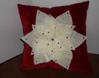 Christmas Poinsettia pillow