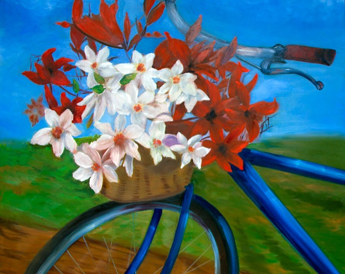 Bicycle Flower Basket Kentucky, Brenda Salyers Fine Art Print on Paper or Canvas