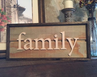 Family sign wall decor rustic Wood family art