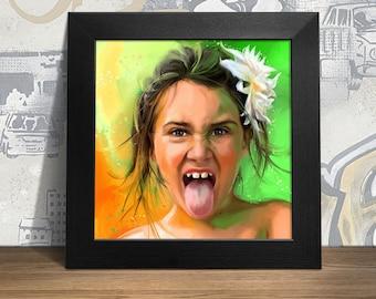 Custom portrait, custom illustration, canvas print, 70 x 70 cm, portrait from Photo