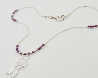 Sterling silver chain with floating Czech glass seed beads and dream catcher charm. Purple anklet. Ankle chain. Beaded anklet.